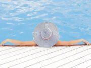 женщина, отпуск, отдых, бассейн